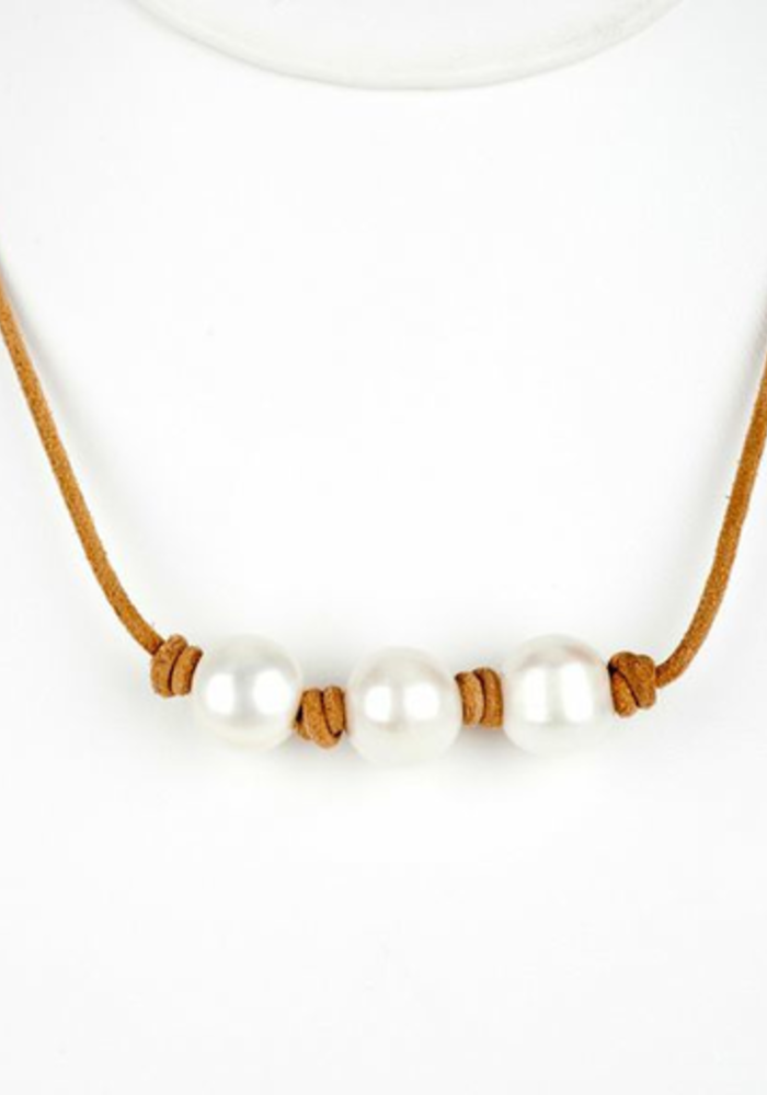 3 White Fresh Water Pearls on Tan Leather Cord