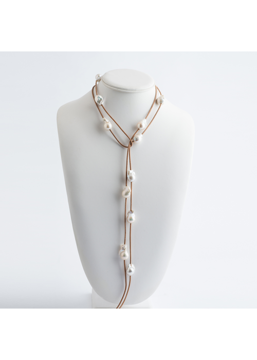 Mina Danielle Baroque Pearl Lariat on Tan Leather Cord