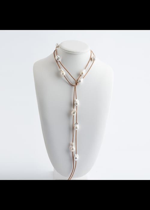 Mina Danielle Baroque Pearl Lariat on Tan Leather Cord