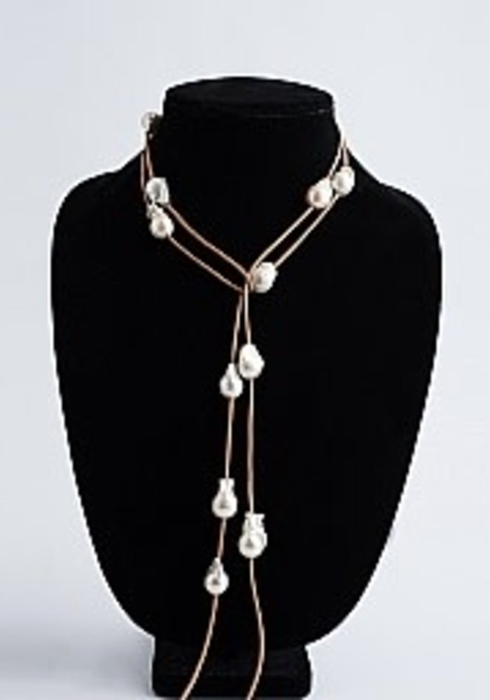 Baroque Pearl Lariat on Tan Leather Cord