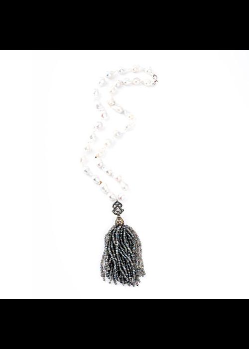 Mina Danielle Baroque Pearl necklace with Labraradorite Tassel