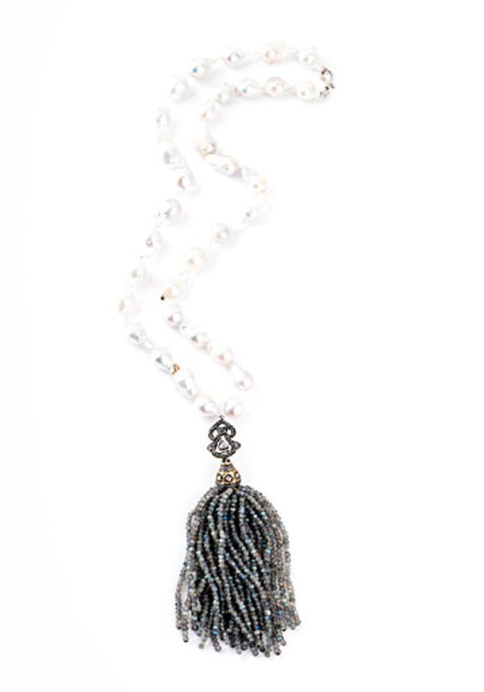 Baroque Pearl necklace with Labraradorite Tassel