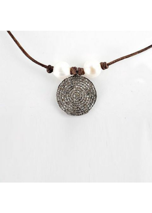 Mina Danielle Diamond Disc with 2 Fresh Water Pearls on Chocolate Leather Cord