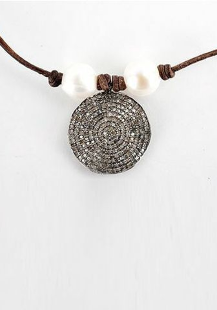 Diamond Disc with 2 Fresh Water Pearls on Chocolate Leather Cord