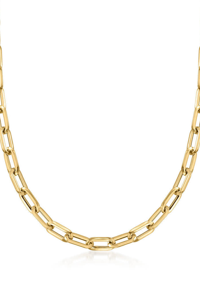 14k Gold Large Elongated Box Chain Necklace