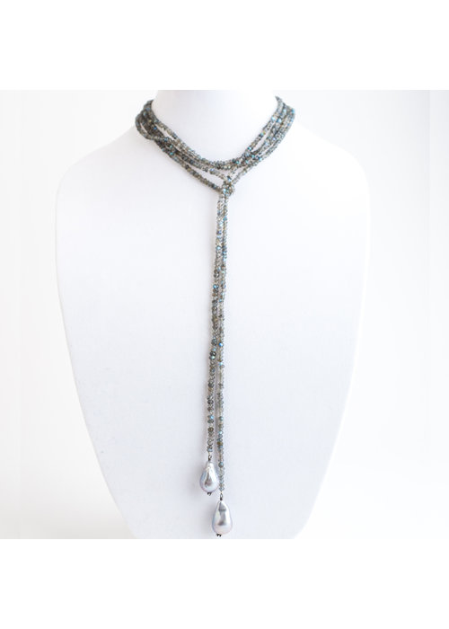 Mina Danielle Labradorite Lariat Chain with hanging Baroque Pearls