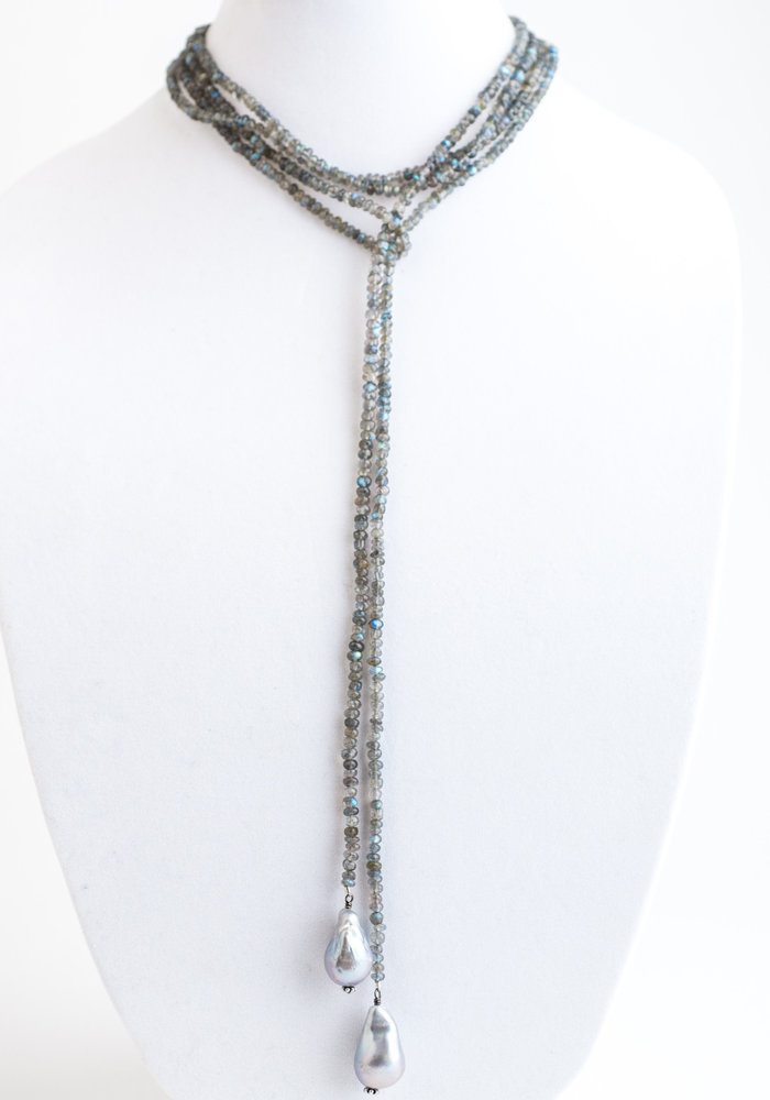 Labradorite Lariat Chain with hanging Baroque Pearls
