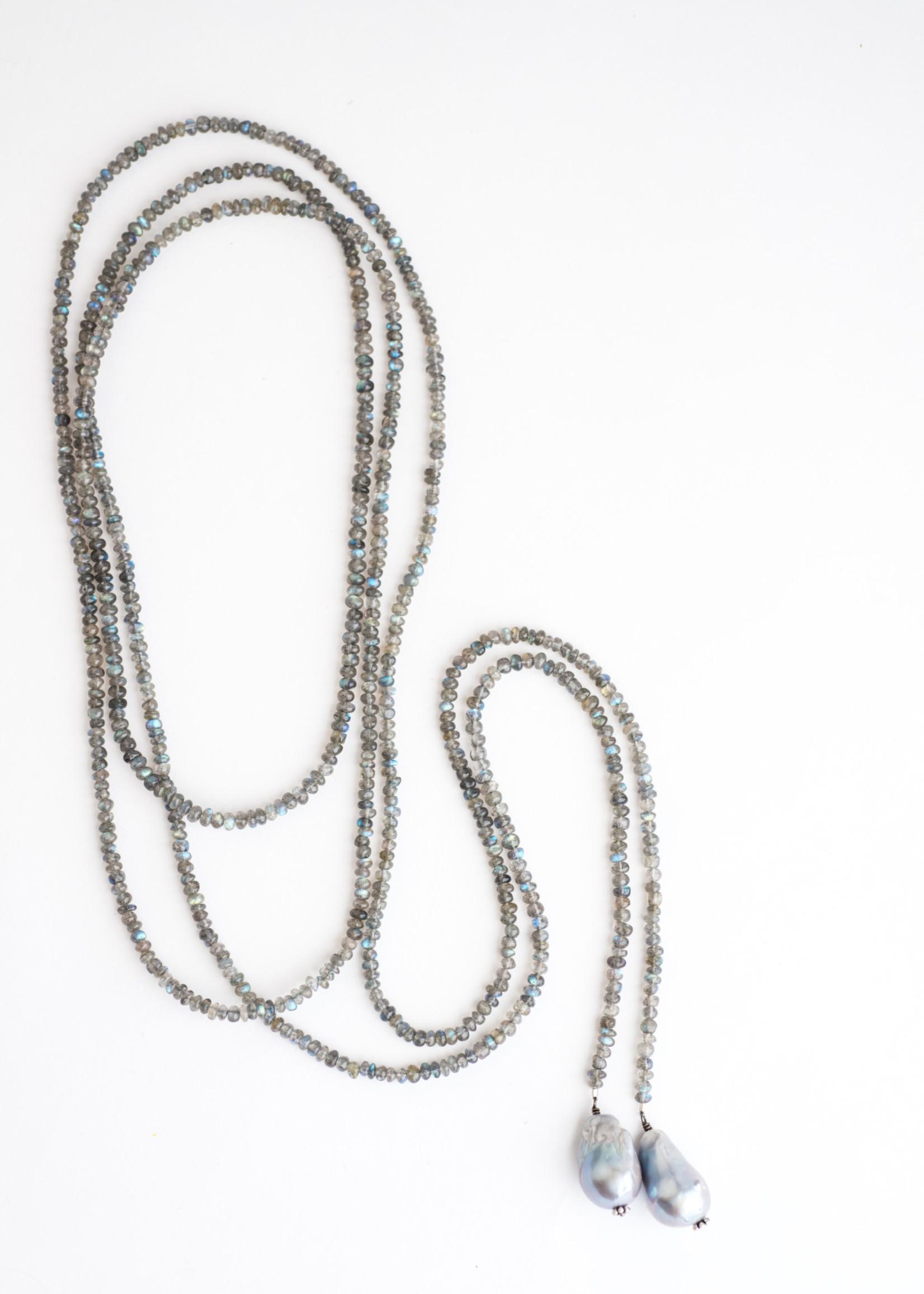 Mina Danielle Labradorite Lariat Chain with hanging Baroque Pearls