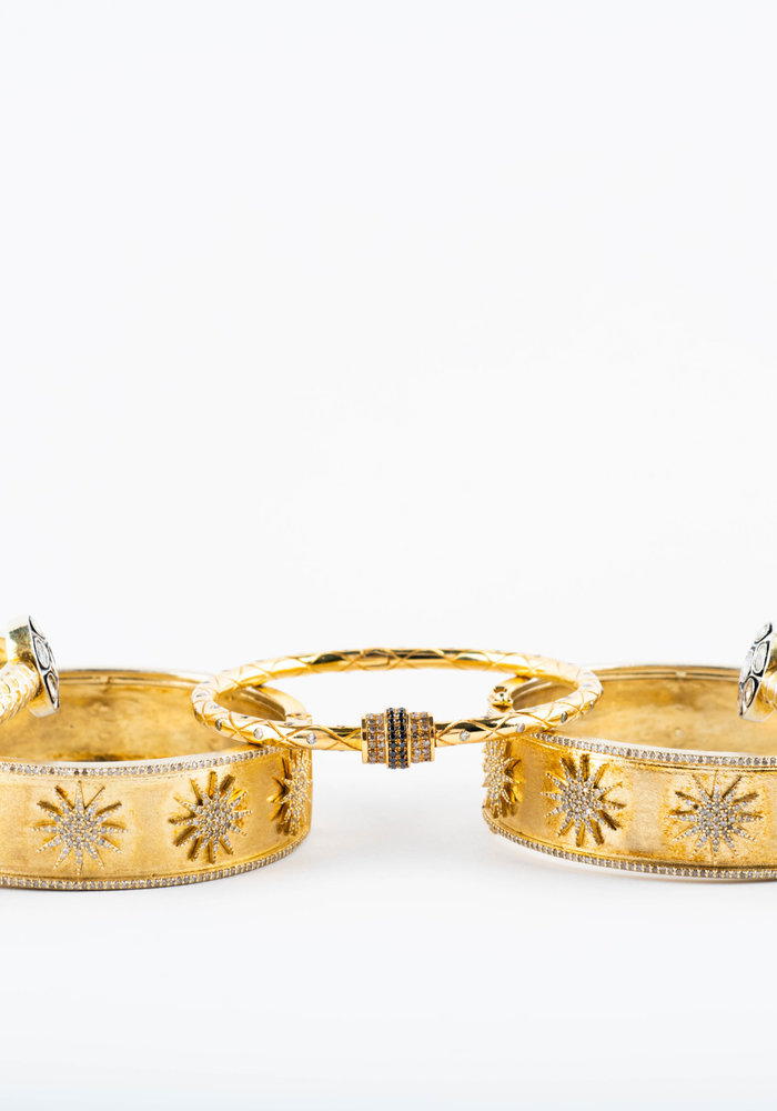 Gold Bangle with Diamond Stars
