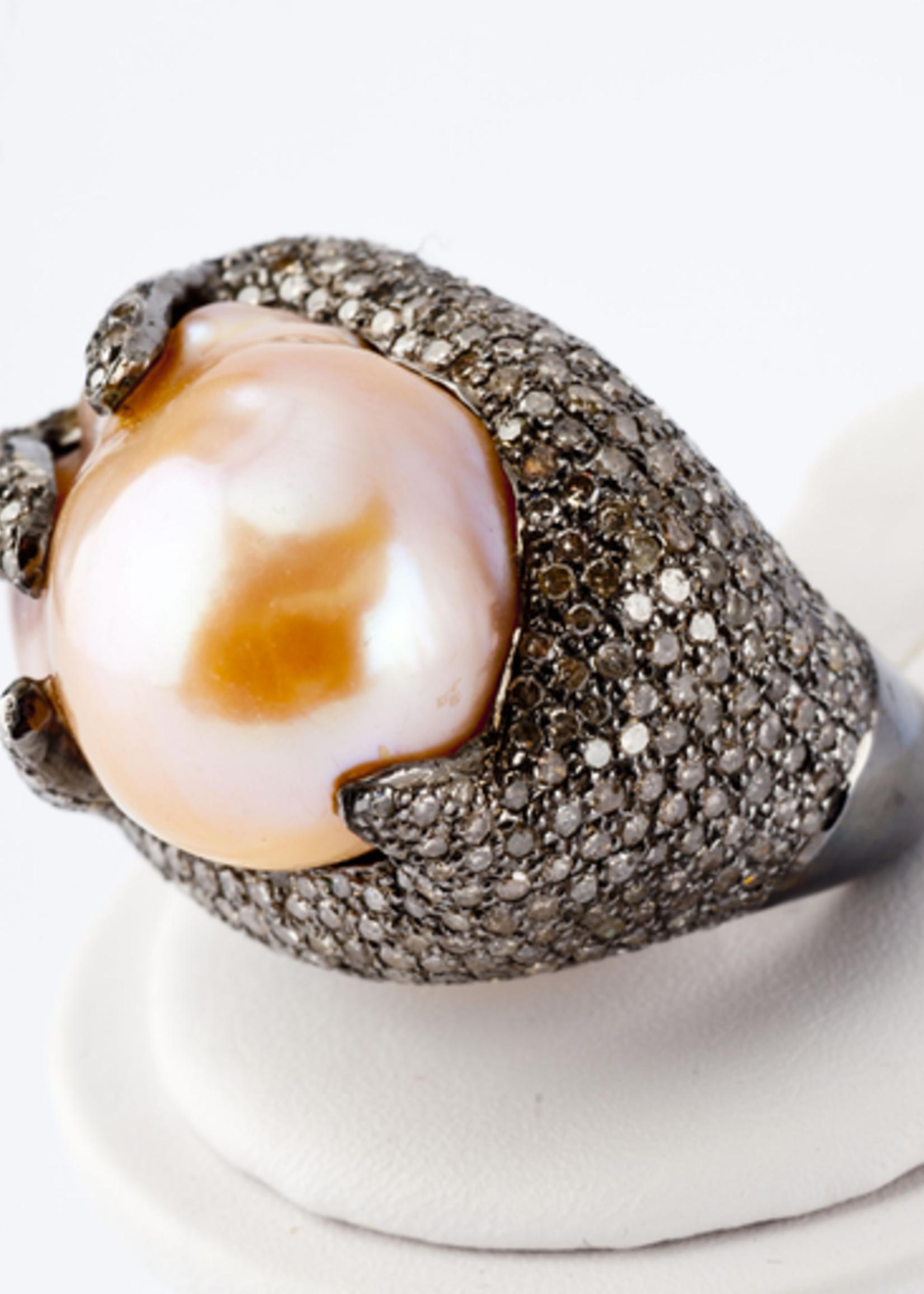 Mina Danielle Pearl and Diamond Ring