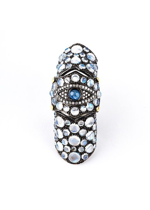 Mina Danielle Medieval Evil Eye, Moonstone and Diamond Knuckle Ring