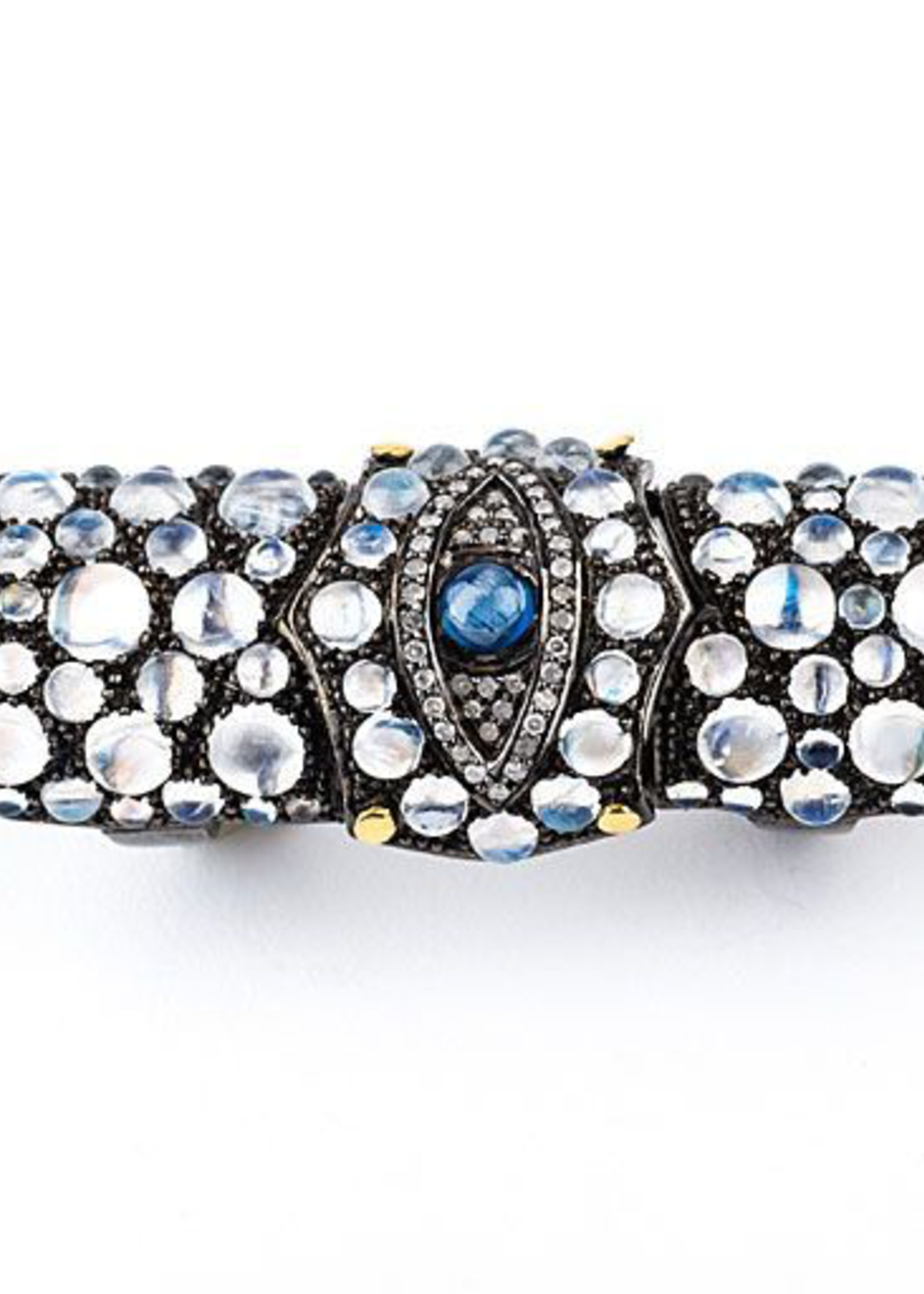 Mina Danielle Medieval Evil Eye, Moonstone and Diamond Knuckle Ring