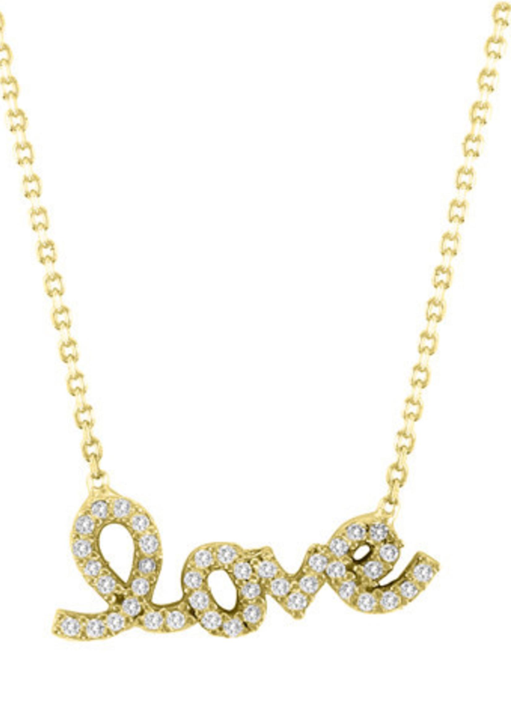 Mina Danielle Gold CZ Love Script on Gold Chain