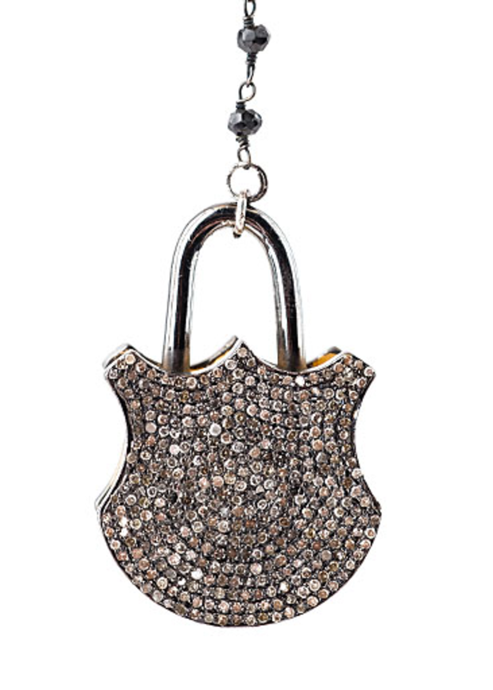 Mina Danielle Double Sided Diamond Padlock on Black Spinell Link Chain