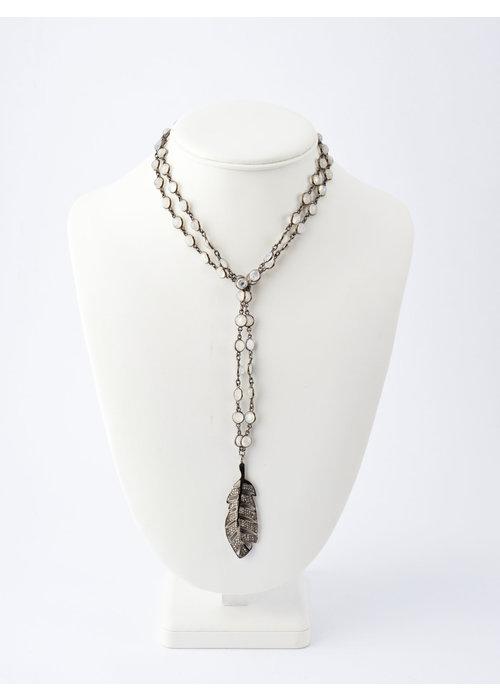 Mina Danielle Pavé Diamond Feather on Moonstone Chain