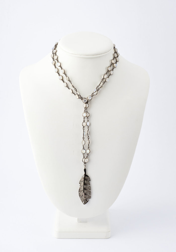 Pavé Diamond Feather on Moonstone Chain