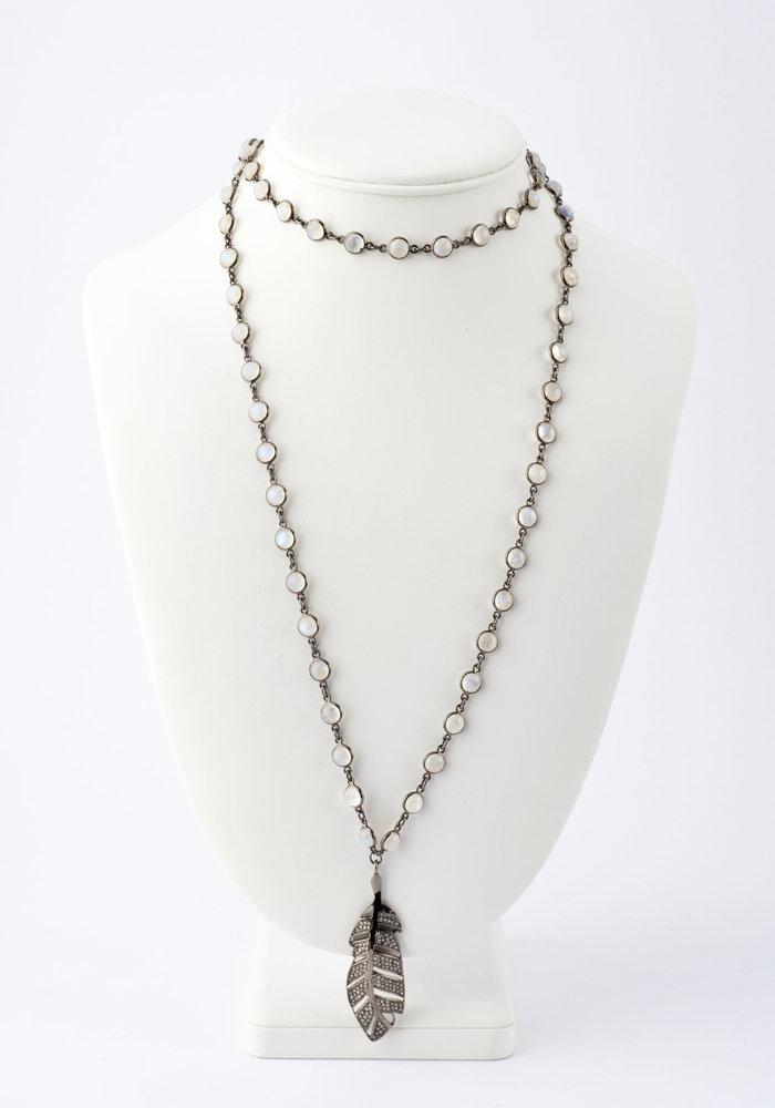 Pavé Diamond Feather on Moonstone Chain