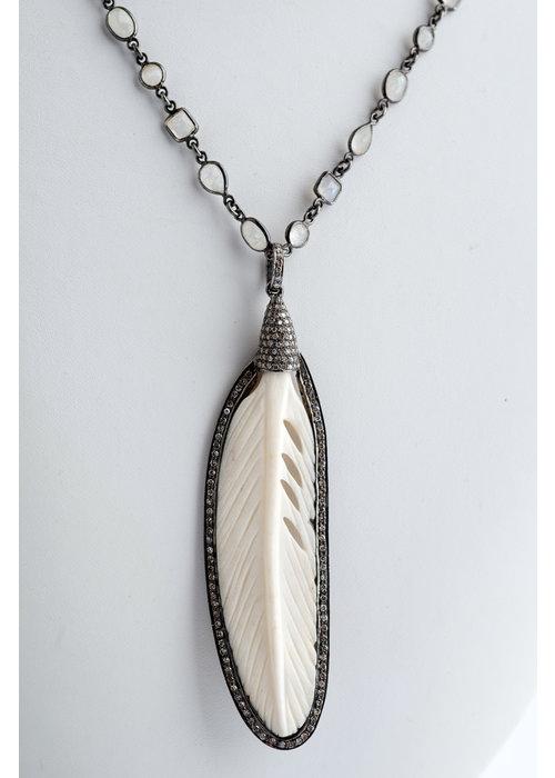Mina Danielle Ivory & Diamond Feather on Moonstone Chain