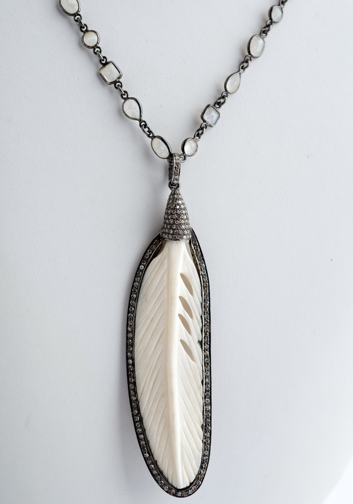 Ivory & Diamond Feather on Moonstone Chain