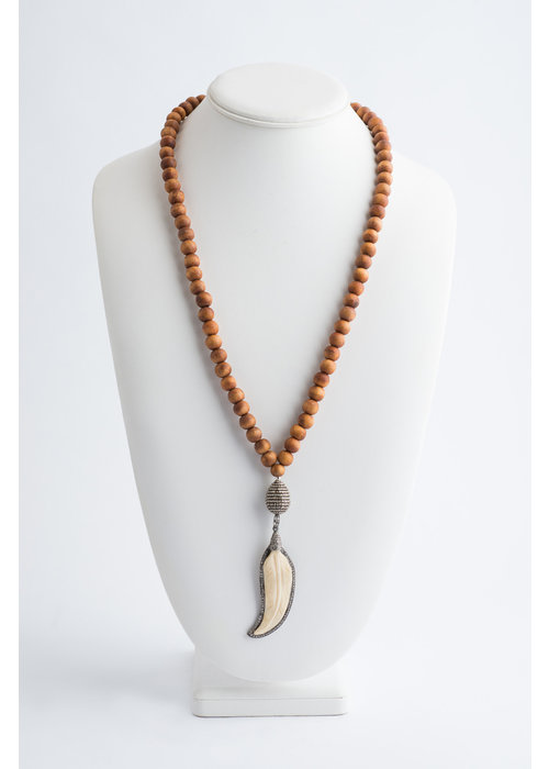 Mina Danielle Sandalwood Necklace with Pavé Diamond and Ivory Feather