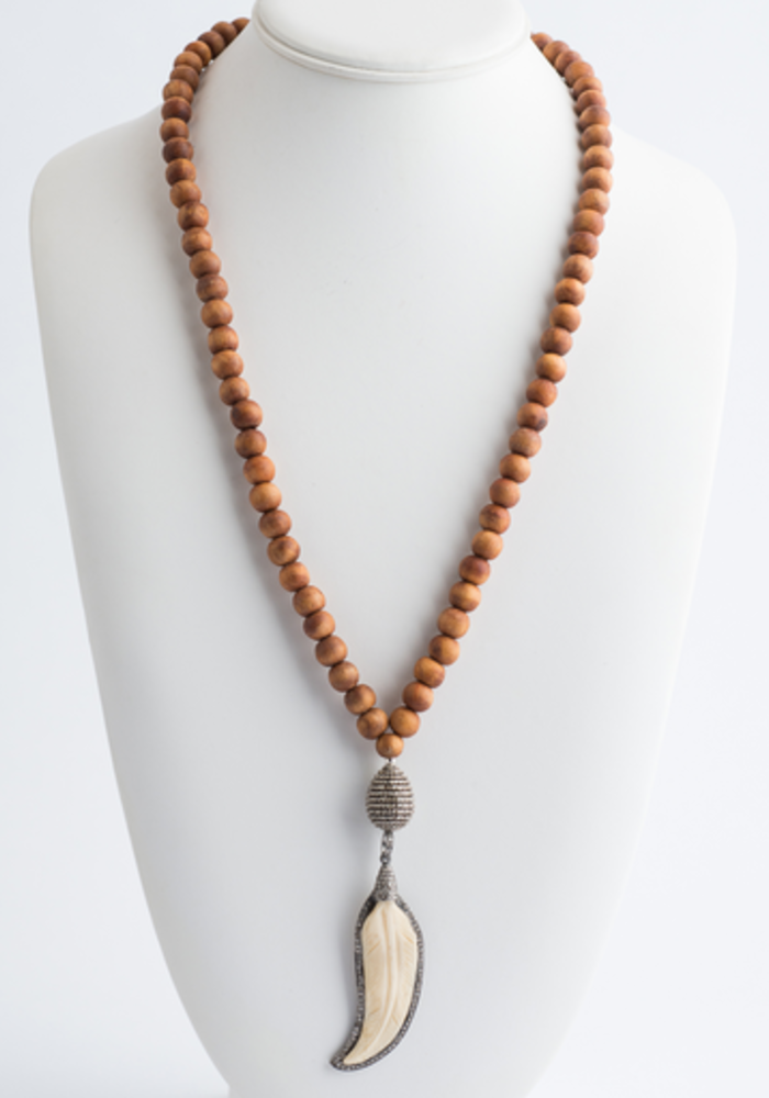 Sandalwood Necklace with Pavé Diamond and Ivory Feather