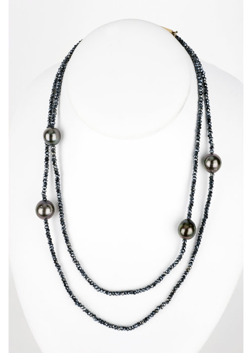 Mina Danielle Mystic Blue Spinel Necklace with 4 15mm Tahitian Pearls