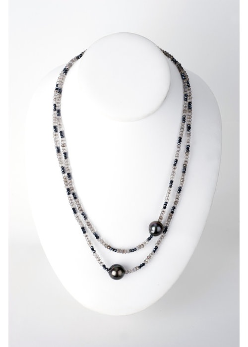Mina Danielle Labradorite and Hematite Necklace with 2 Tahitian Pearls