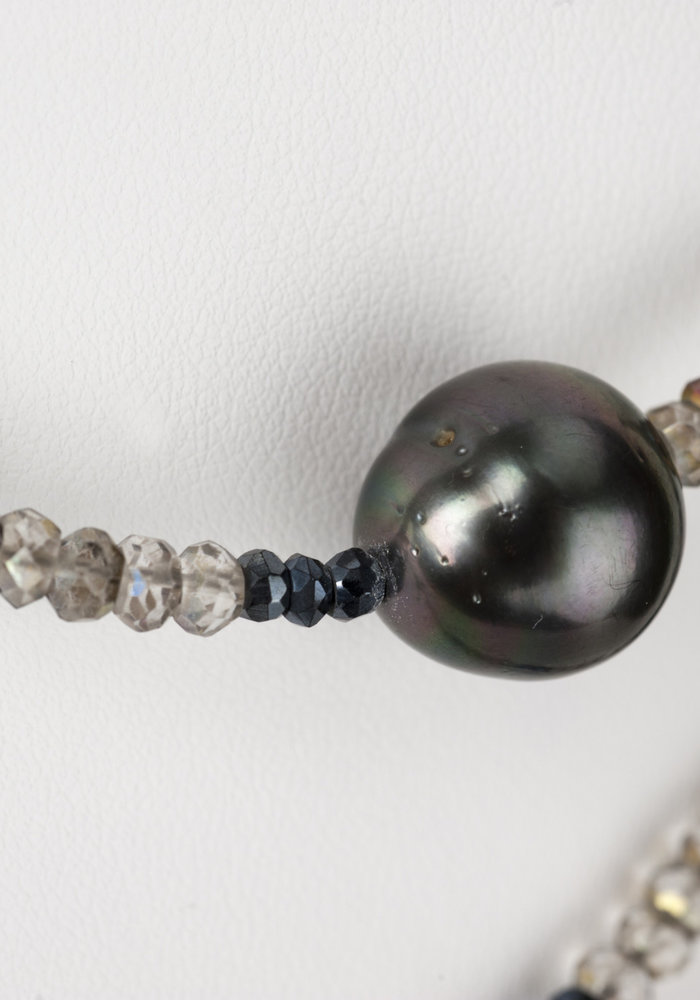 Labradorite and Hematite Necklace with 2 Tahitian Pearls