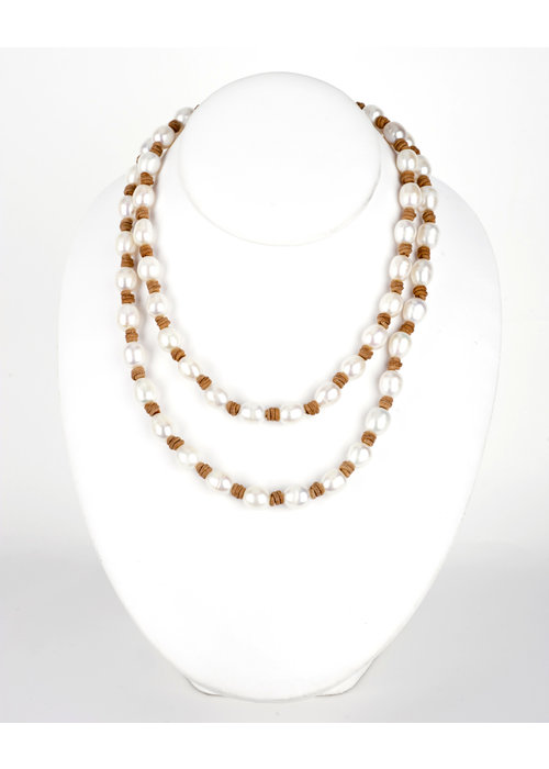 Mina Danielle Long Fresh Water Pearl Necklace on Tan Leather Cord