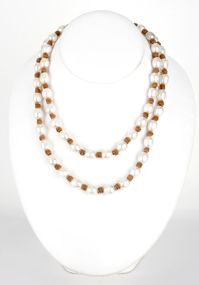Long Fresh Water Pearl Necklace on Tan Leather Cord