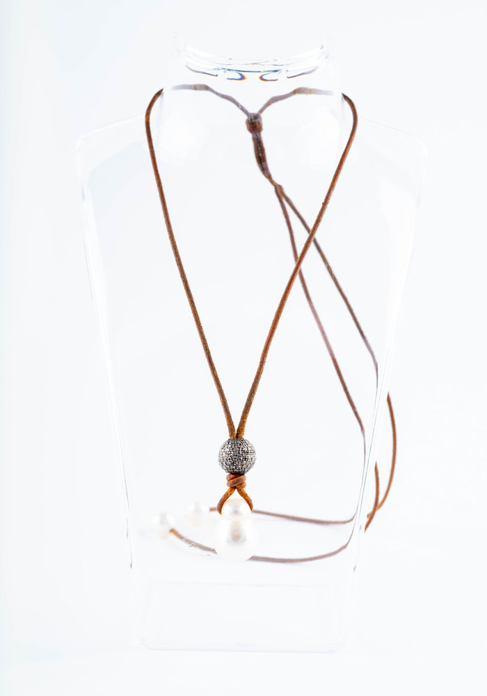 Mina Danielle's Signature Necklace. Baroque South Sea Pearl drop with Pavé Diamond Ball