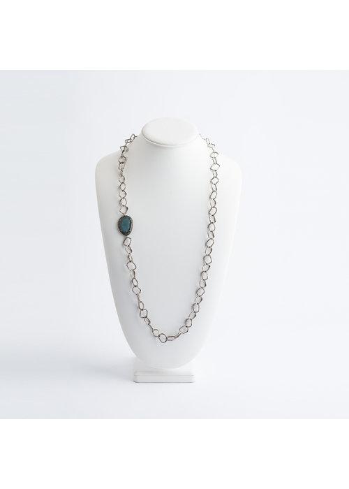Mina Danielle Square Sterling Silver Chain with Labradorite & Diamond Slice Pendant