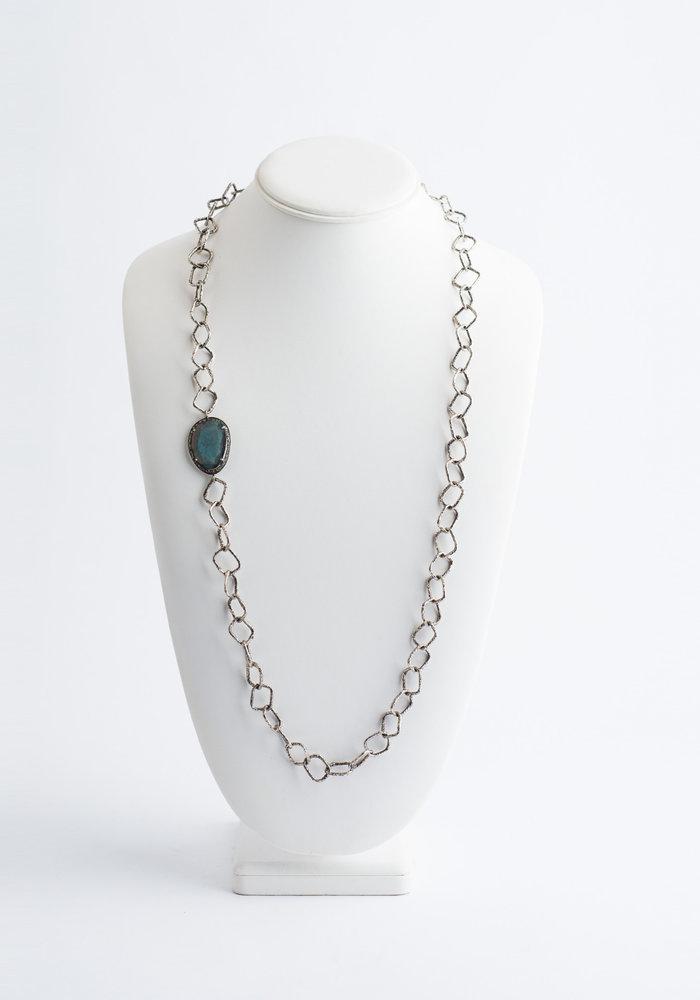 Square Sterling Silver Chain with Labradorite & Diamond Slice Pendant