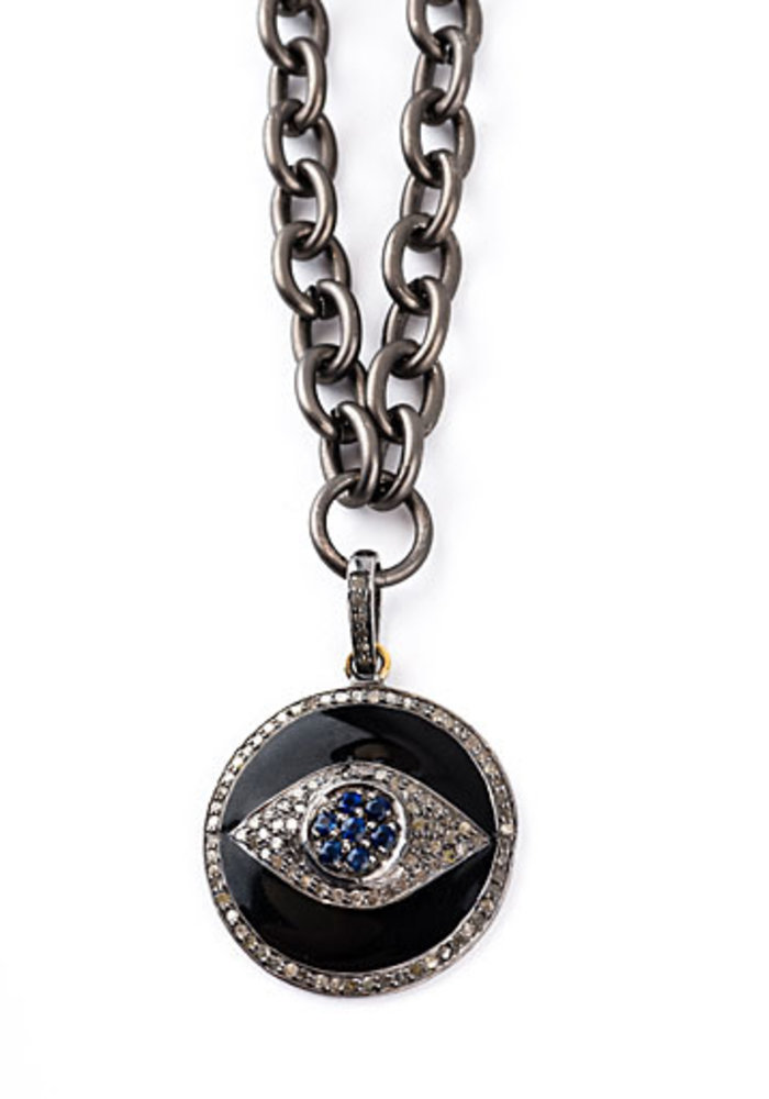 Black Enamel & Diamond Evil Eye Pendant on Oxidized link chain