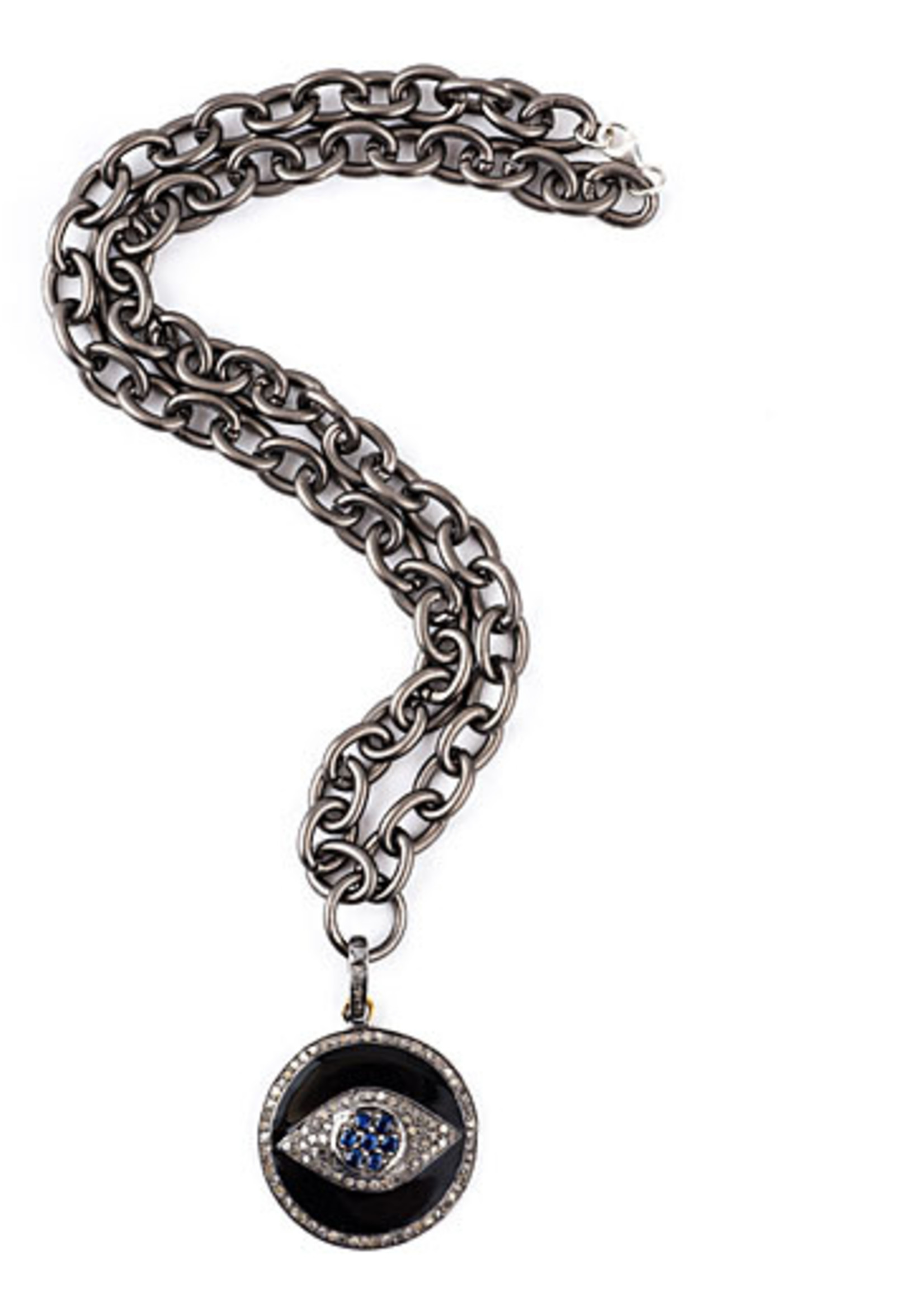 Mina Danielle Black Enamel & Diamond Evil Eye Pendant on Oxidized link chain