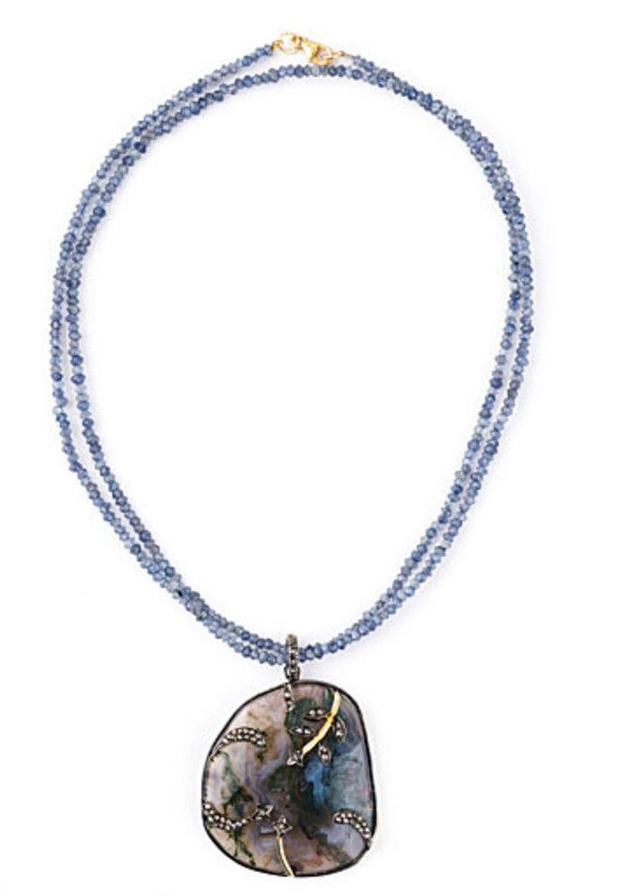Large Agate and Diamond Pendant on Iolite