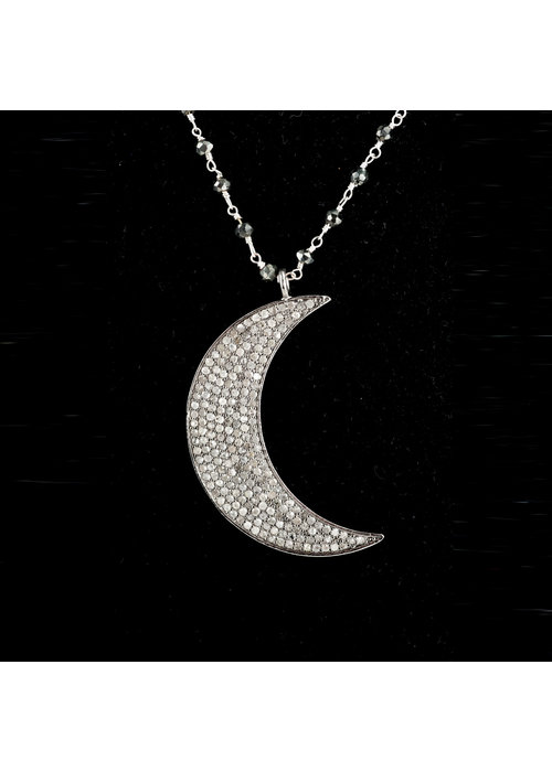 Mina Danielle Large Pavé Diamond Moon on Black Spinell chain