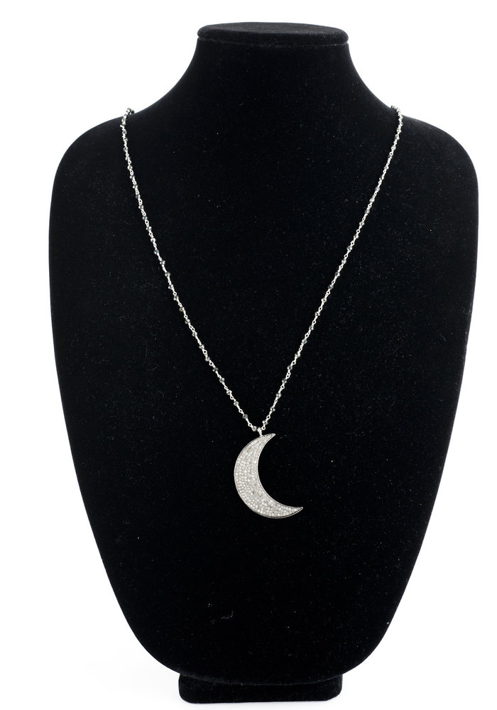 Large Pavé Diamond Moon on Black Spinell chain