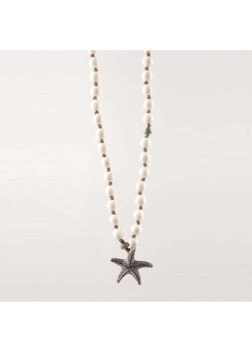 Mina Danielle Ivory Beads with Pavé Diamond Starfish