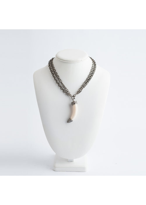 Mina Danielle Ivory Horn with Diamond Top on  3 Strand Sterling Silver Chain. Can be worn short or long.