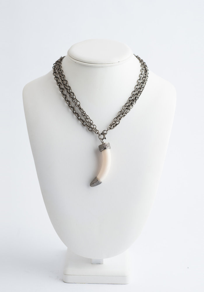 Ivory Horn with Diamond Top on  3 Strand Sterling Silver Chain. Can be worn short or long.