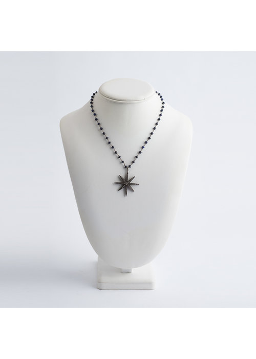Mina Danielle Sapphire Chain Link with Diamond Sunburst Pendant