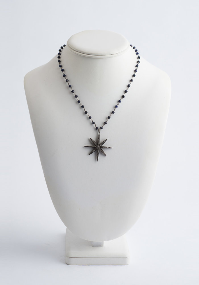 Sapphire Chain Link with Diamond Sunburst Pendant
