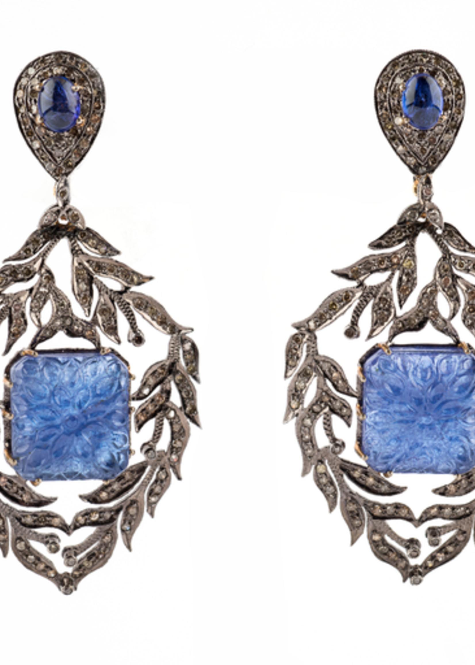 Mina Danielle Sapphire, Agate and Diamond Earrings