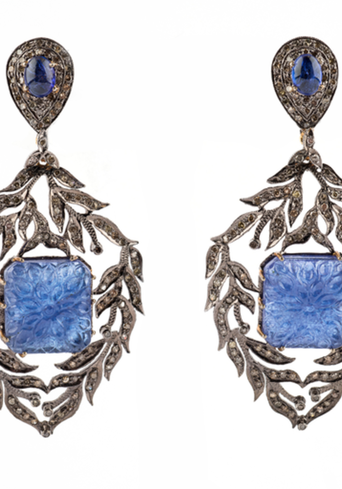 Sapphire, Agate and Diamond Earrings