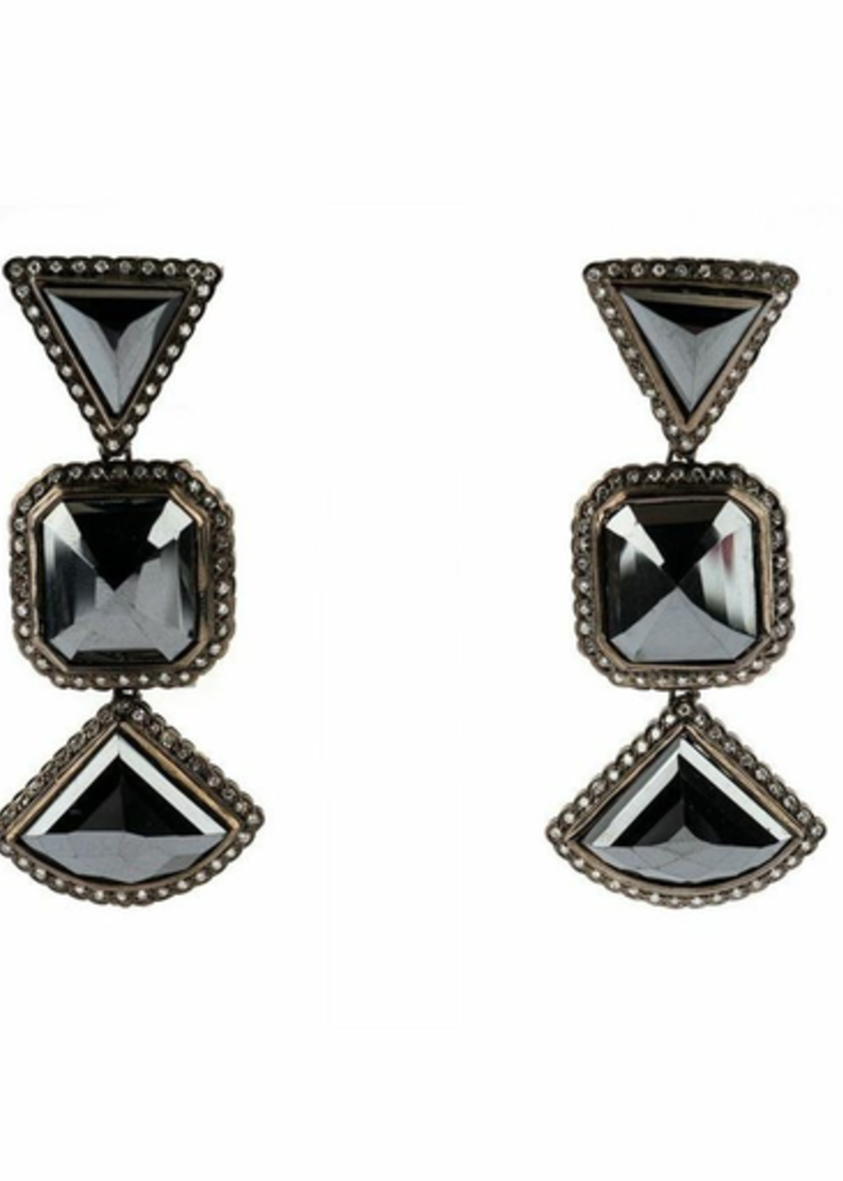 Mina Danielle Moissanite and Black Diamond Earrings