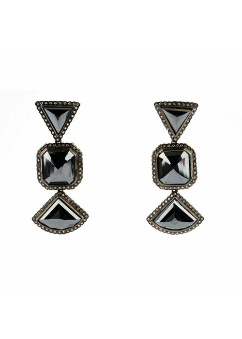 Mina Danielle Moissanite and Black Diamond Earrings