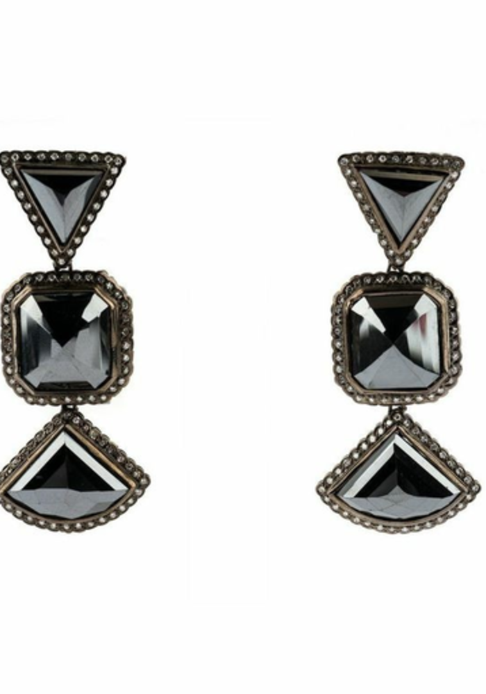Moissanite and Black Diamond Earrings