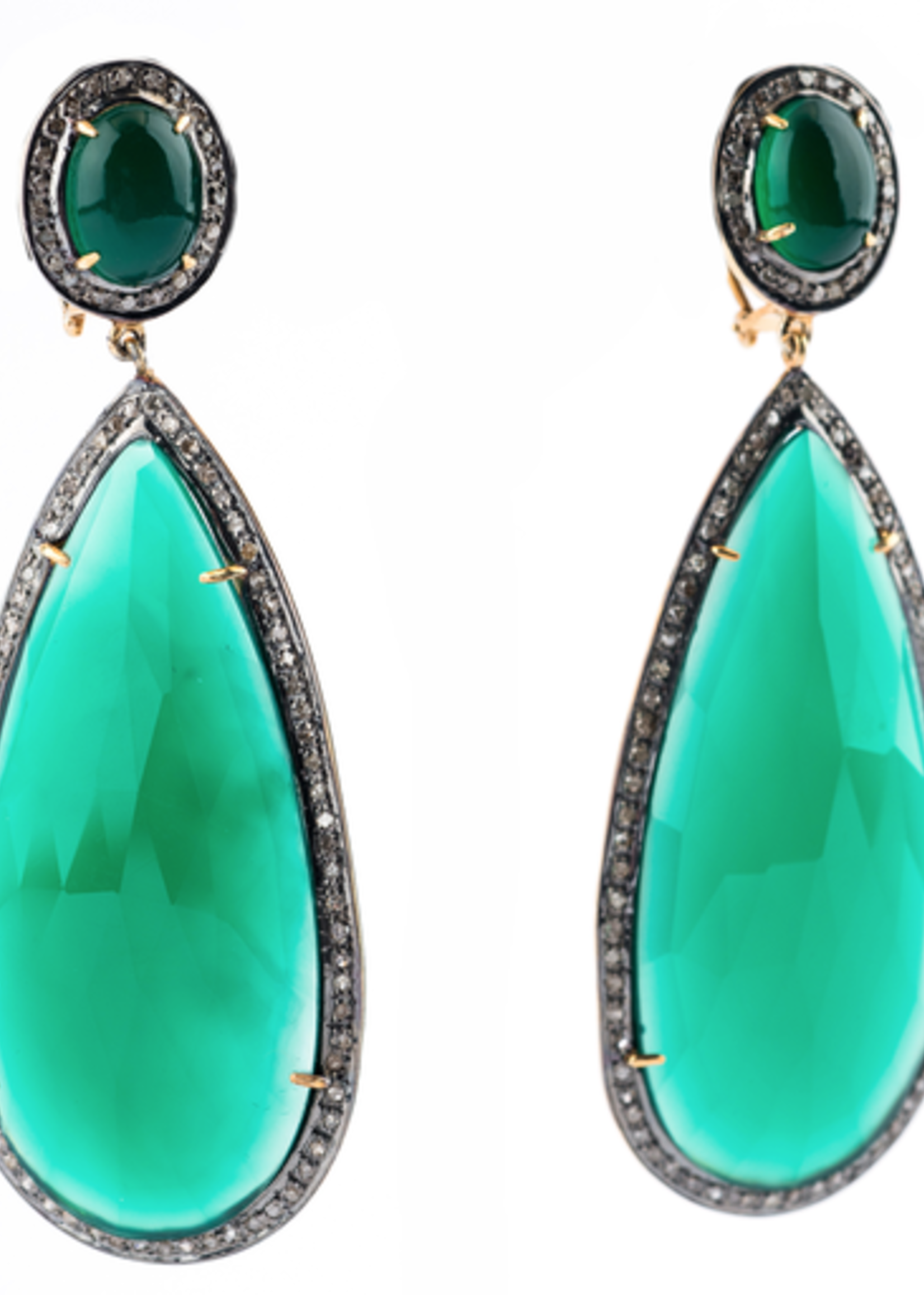 Mina Danielle Green Onyx and Diamond Pear Earrings