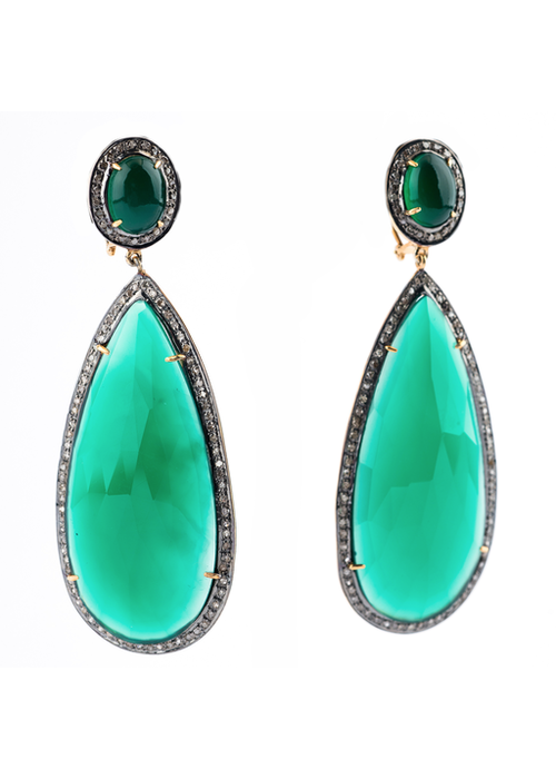 Mina Danielle Green Onyx and Diamond Pear Earrings